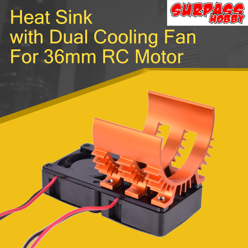 SURPASS HOBBY 36mm <font><b>540</b></font> Brushless <font><b>Motor</b></font> Heatsink with Dual Cooling <font><b>Fan</b></font> for 1/8 1/10 RC toy Car Spare part image