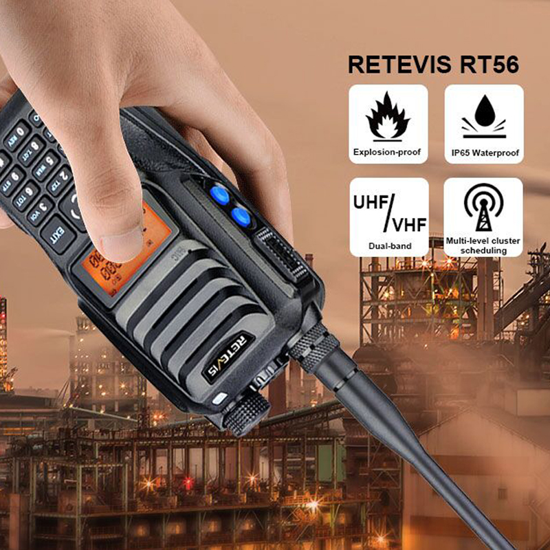 Retevis RT56 Explosion-proof Walkie Talkie Handheld Two-Way Radio Transceiver IP65 Waterproof 3.5W VHF UHF  136-174 & 400-480MHz