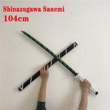 104cm Kimetsu hiçbir Yaiba kılıç silah iblis avcısı Shinazugawa Sanemi Cosplay kılıç 1:1 Anime Ninja bıçak PU oyuncak