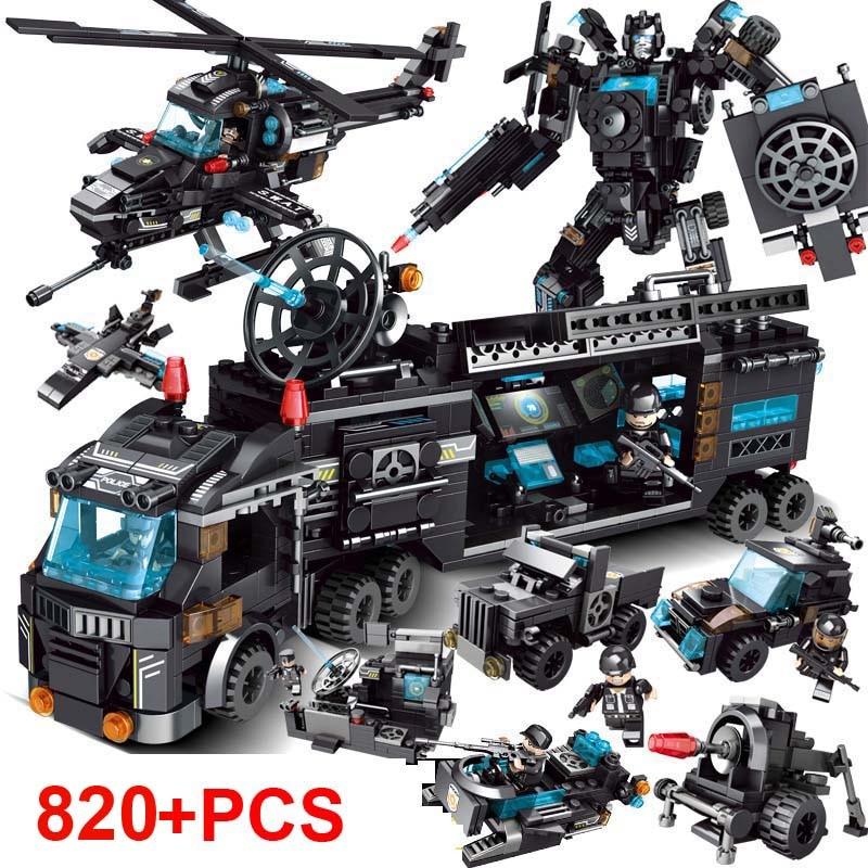 820Pcs City Police SWAT Building Blocks Compatible LegoINGlys City Blocks Technic Bricks Playmobil Toys For Children Gift