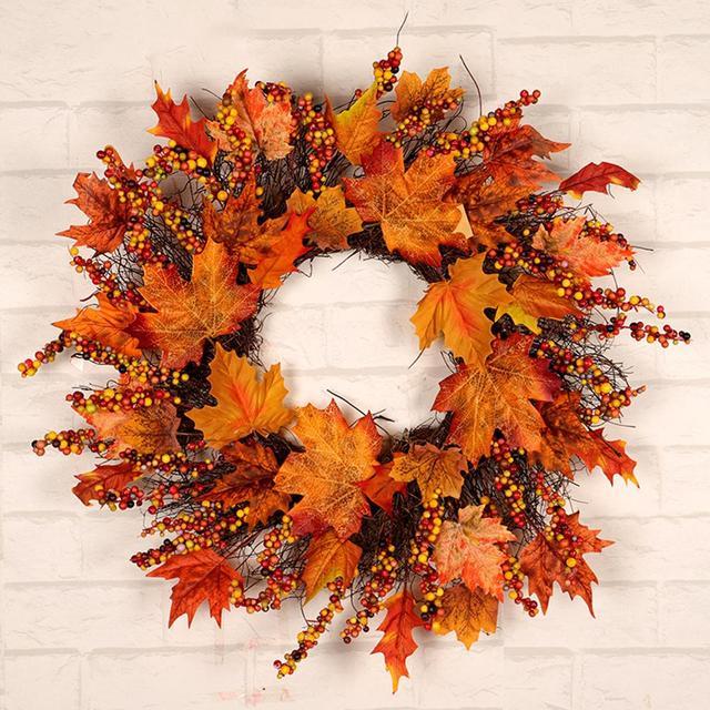 Navidad Acción de Gracias otoño Color guirnalda ventana restaurante hogar hoja de arce decoración adornos vacaciones colgante corona