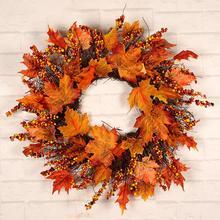 Noël Thanksgiving automne couleur guirlande fenêtre Restaurant maison feuille dérable décoration ornements vacances pendentif couronne