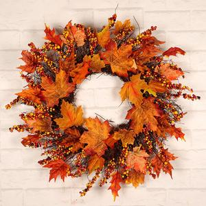 Image 1 - Noël Thanksgiving automne couleur guirlande fenêtre Restaurant maison feuille dérable décoration ornements vacances pendentif couronne