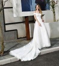Женское пляжное свадебное платье со шлейфом и открытыми плечами