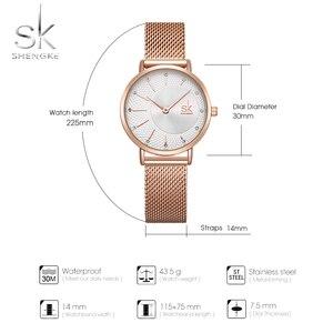 Image 5 - Shengke חדש Creative נשים שעונים יוקרה Rosegold קוורץ גבירותיי שעונים Relogio Feminino רשת להקת שעוני יד Reloj Mujer