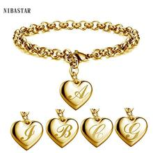 Initial Charm Gold-Color Bracelets Stainless Steel Heart 26 Letters Alphabet Bracelet for Women Girls Kids Gifts
