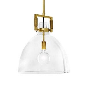 Image 5 - Amerikan basit bakır LED kolye ışıkları bar Modern restoran aydınlatması cam yatak odası ışıkları lüks başucu asılı lambalar