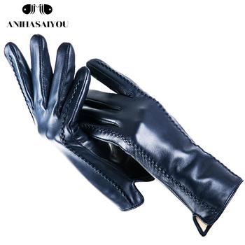 Pasiaste skórzane rękawiczki damskie kolorowe skórzane damskie rękawiczki skórzane rękawiczki damskie modne rękawiczki damskie zimowe-DSB tanie i dobre opinie anihasaiyou Kobiety Prawdziwej skóry Dla dorosłych Paski Nadgarstek Moda