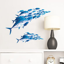 3D poissons Stickers muraux enfants chambres d'enfants salon décoration murale maison art stickers fond Transparent autocollants(China)