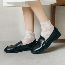 Summer Lace Transparent Thin Female Lolita Mesh flowers lovely Kawaii Cute Short socks