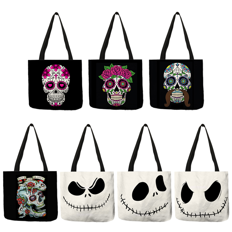 Latest Design Torebki Damskie Lady Handbag Halloween Scary Smile Flower Skull Eco Linen Practical Women Men Tote Bags