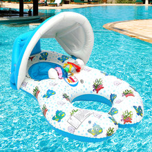 Portable Baby Pool Float Neck Ring With Subshade Portable Mother Children Swim Circle Inflatable Safety Swimming Ring Float Seat(China)