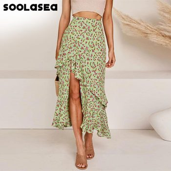 Soolasea Bohemian Black Ruffle Hem Wrap Floral Print Skirts Women Summer Elastic High Waist Ladies Irregular Long Skirt Female