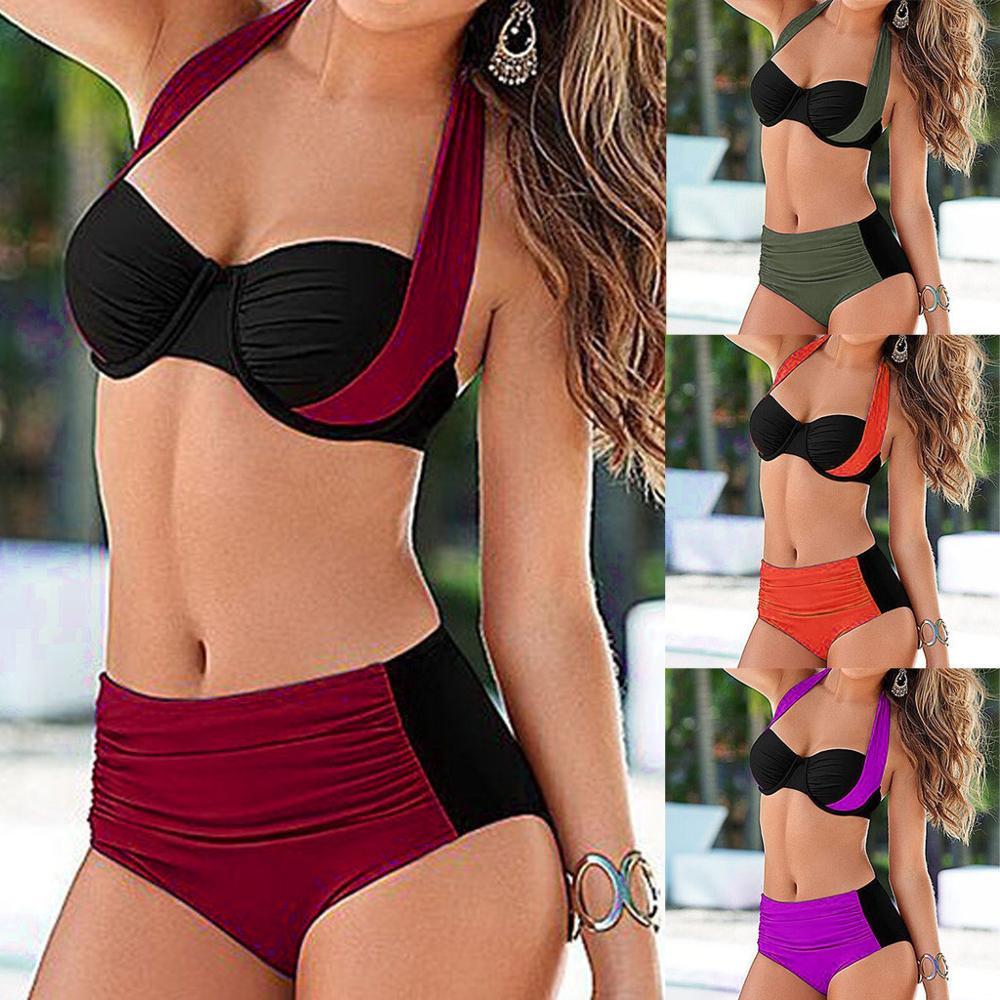Biquíni sensual estilo push up 2020, maiô listrado, moda praia feminina, bandagem plus size, S-XXXL f3
