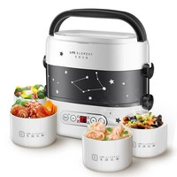 Smart Electric Lunch Box Mini Rice Cooker Double Layer Appointment Timing Portable Automatic Heating Ceramic Liner Food Warmer