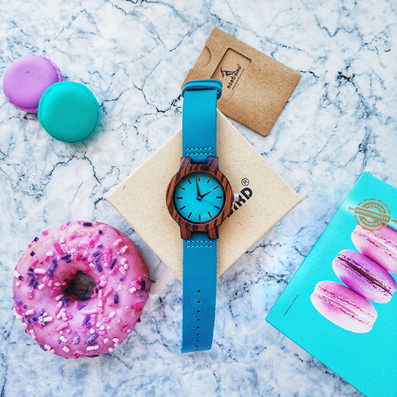 BOBO BIRD Lovers Watch Women Elegant Turquoise Wood Leather Watches Men Stylish Quartz Wristwratch Reloj Mujer C-C28