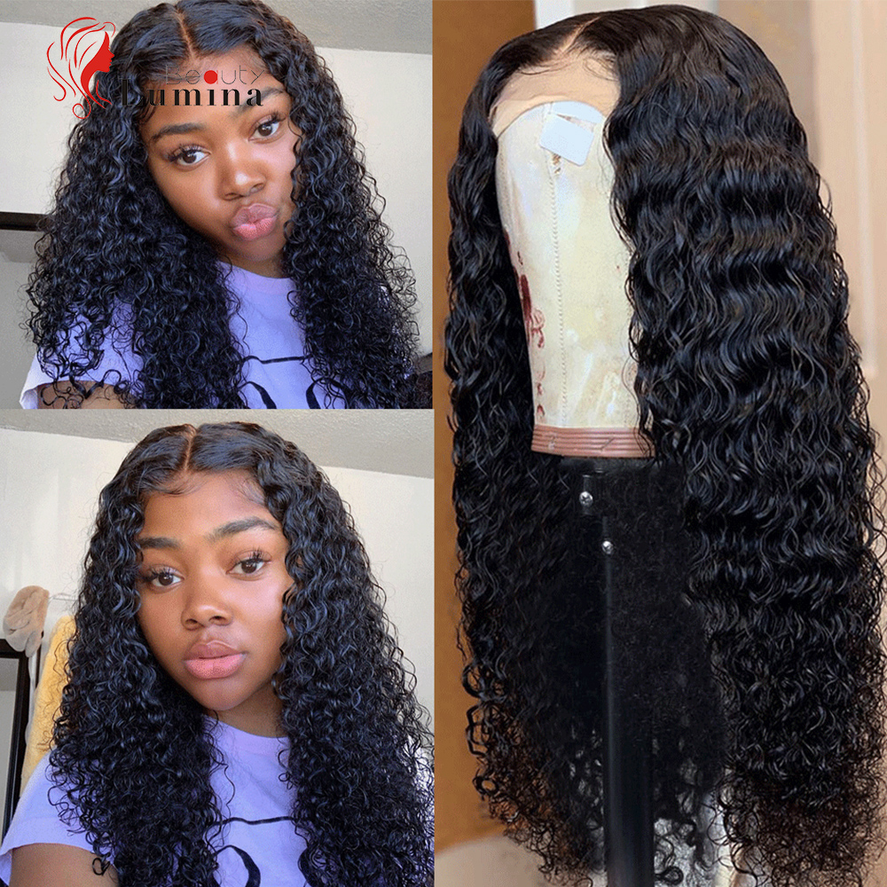Beauty Lumina Hair 4x4 Lace Closure Wig Deep Wave Human Hair Wigs For Women Black Peruvian Remy Pre-plucked Human Hair Wigs