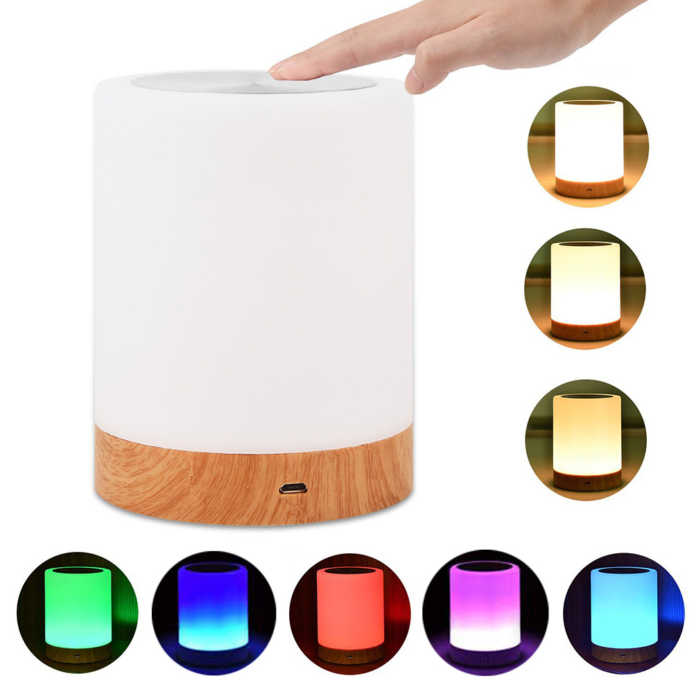 Night Light Portable Home Decor Multicolor Atmosphere Bedroom USB Dimmable Wood Grain Touch Control Lamp Gift Table LED Colorful