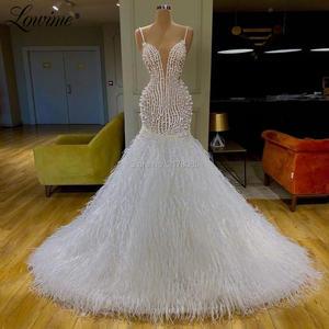 Image 2 - גלימת דה Soiree דובאי עיצוב לבן נוצת מסיבת שמלות בת ים פנינים אישית ערב שמלת לבוש הרשמי ארוך שמלה לנשף Vestidos