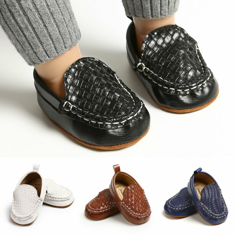 Baby First Walkers Kid Boy Girl Casual Loafer Flat Shoe Casual Baby Walk Trainner Boat Peas Shoes PU Solid Anti Slip Shoes