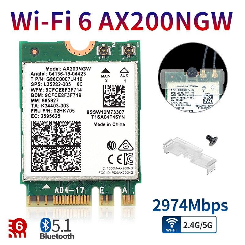 2974 Мбит/с AX200NGW WiFi 6 для Intel AX200 NGFF M.2 Bluetooth 5,1 WiFi карта двухдиапазонный 2,4G/5 ГГц 802.11ac/ax MU-MIMO для Windows 10