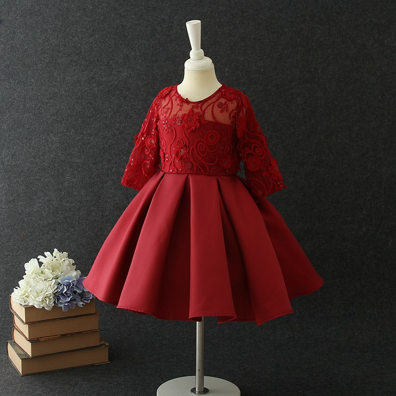 Girls Stage Biao Yan Qun Gray Children Shirt Half-sleeve Shirt Lace Princess Dress Autumn And Winter New Style Flower Boys/Flowe