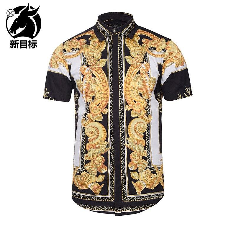AliExpress Men'S Wear 2019 Summer Wear New Style Street Fashion Youth Shirt Digital Classical Pattern 3D Print Shirt