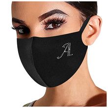 Mask Masque Mouth-Caps Mascarillas Letter Rhinestone Washable Cotton for Women Black