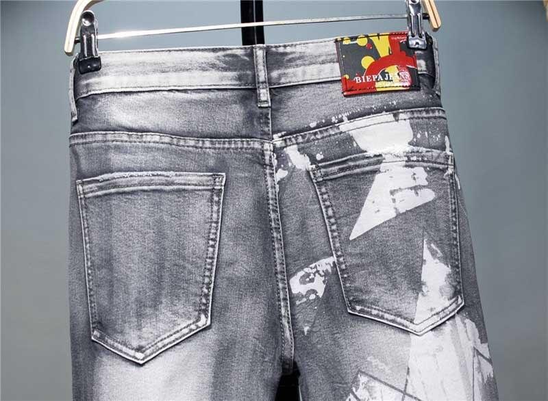 KIOVNO Men Fashion Printed Jeans Pants Washed Grey Denim Trousers Male Streetwear (9)