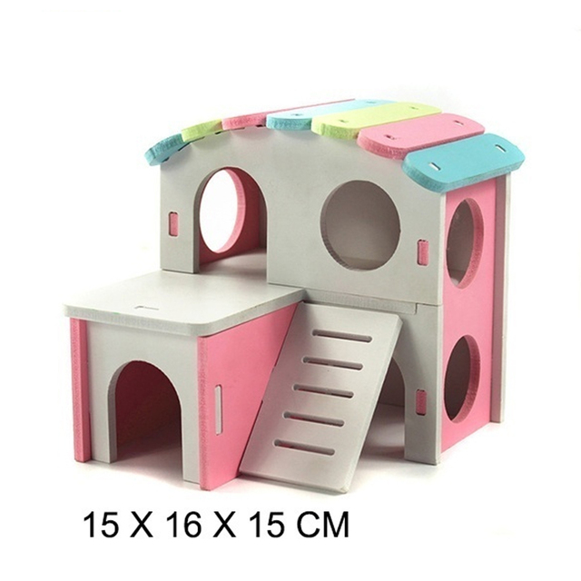 1 PC Hamster House Pet Castle Toy Pet House Viewing Deck Ladder Pet Products Hamster Nest Wooden Seesaw