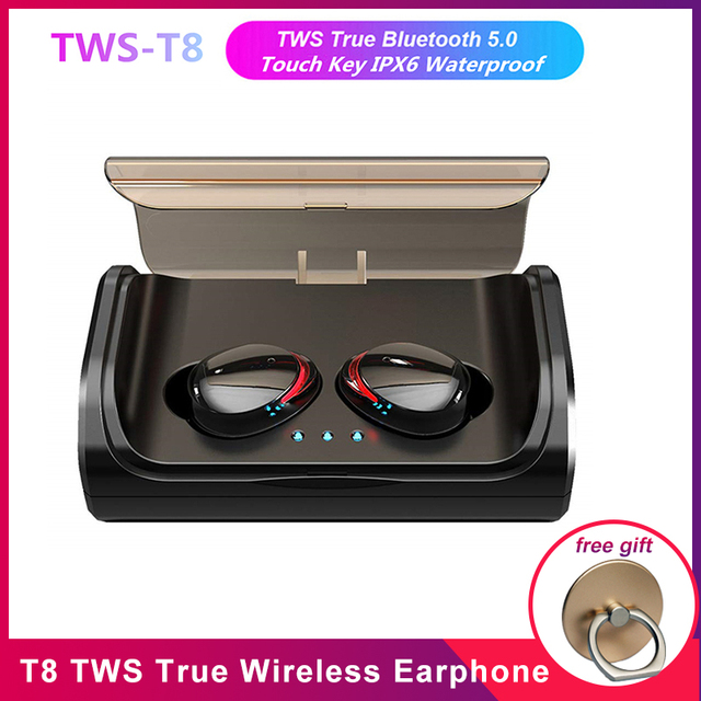 T8 مصغرة TWS بلوتوث 5.0 صحيح اللاسلكية سماعات في الأذن سماعات الأذن العميق باس ستيريو سماعة رياضية مع 3000 mAh شحن مربع
