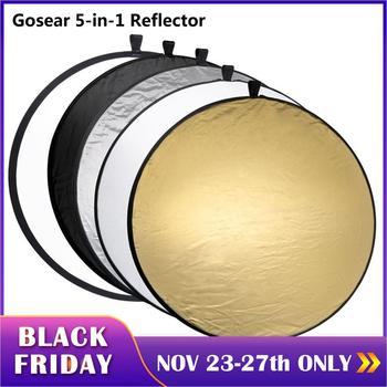 Gosear 60cm bærbart sammenklappeligt rundt kamera belysningsudstyr fotodisk reflektor diffusorsæt bæretaske fotografering