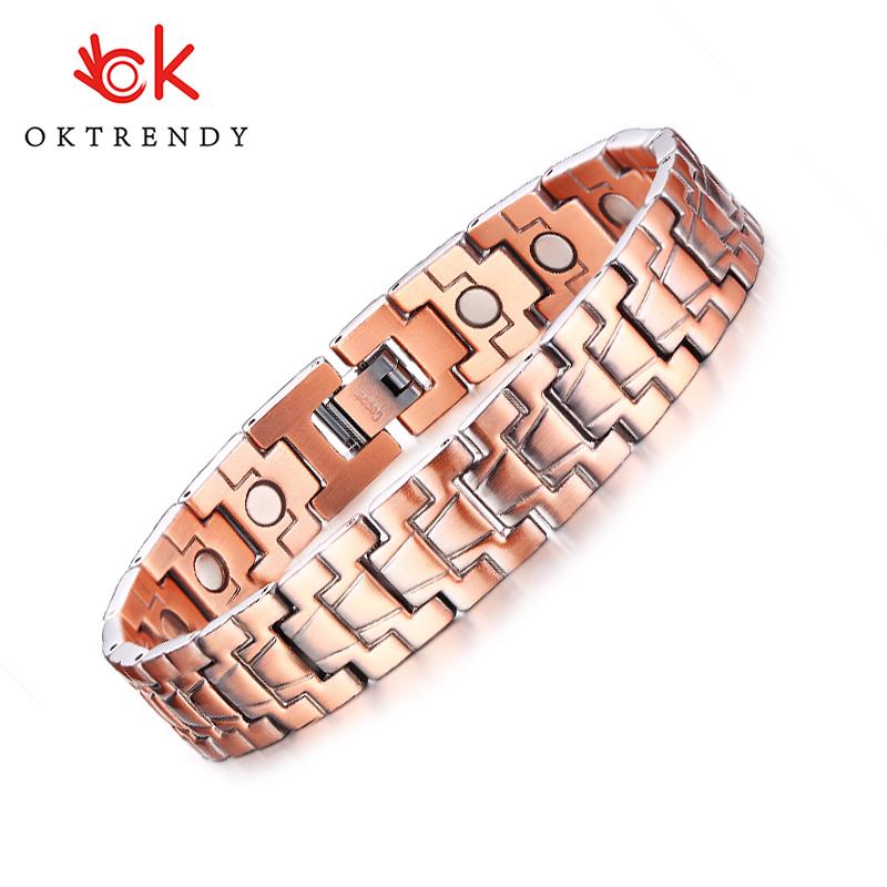 Oktrendy Healthy Magnetic Power Bracelets Pure Red Copper Arthritis Pain Relief Strap Bracelet Pulsera Masculina