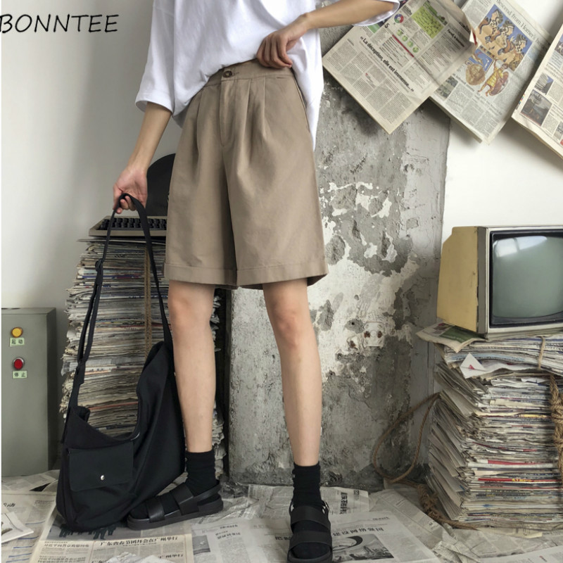 Shorts Women Loose Trendy Elegant All-match High-quality Korean Style Leisure Daily Womens Female Lovely Simple 2020 Solid New