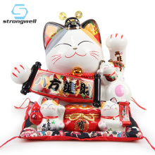 Strongwell Japanese Large Lucky Cat Figurine Ceramic Piggy Bank Home Decoration Accessories Royal Feng Shui Decor Craft