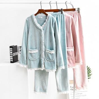Pink Blue Warm Flannel Pajamas Set Women Winter New Fashion Sweet Sleepwear Suit Patchwork Lace Thick Night Wear 2 Piece Y8002