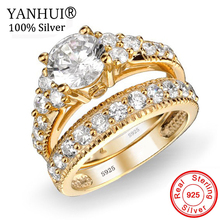 YANHUI 2Pcs/Set Rings with Certificate Real Original 925 Solid Silver Gold Color Ring 2ct Zirconia Rings for Women Gift CER045