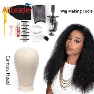 Image 5 - Alileader 21/22/23/24/25inch White Block Canvas Manikin Head Wigs Mannequin Head Displaying Making Styling Model Manikin Head