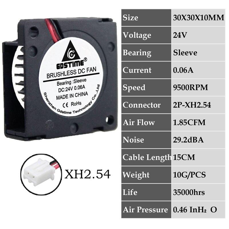2 шт. Gdstime DC 5 в 12 В 24 в 30x30x10 мм рукав двойной шар 1 дюймов маленький мини вентилятор охлаждения 30 мм x 10 мм 3 см 3010 3d принтер - Цвет лезвия: 0.06A3010S24V2P2.54