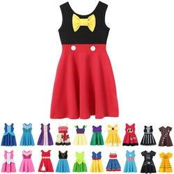 Для маленьких девочек Летняя повседневная одежда Минни Мулан Wonder Woman Белоснежка, Рапунцель Тинкер Белл Жасмин Принцесса Елена Платья для