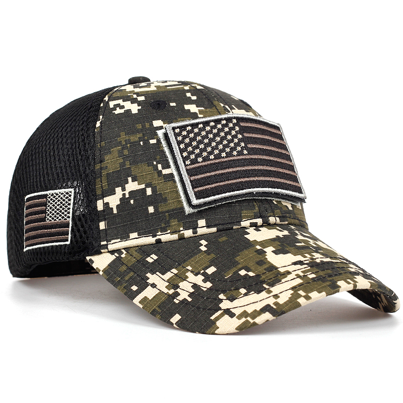 Tactical Camouflage Baseball Caps Men's Summer Mesh Military Army Hats Designed Baseball Caps With Stripes Of The USA Flag