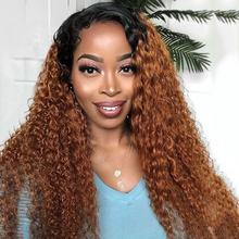 Wig Human-Hair-Wigs Lace-Front Curly for Black Women Preplucked Ombre Remy-Brazilian