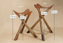 Portable Leather Fishing Chair Camping Folding Stool with Solid Wood Tripod Saddle Seat Stool Portable Three Leg Outdoor/Indoor