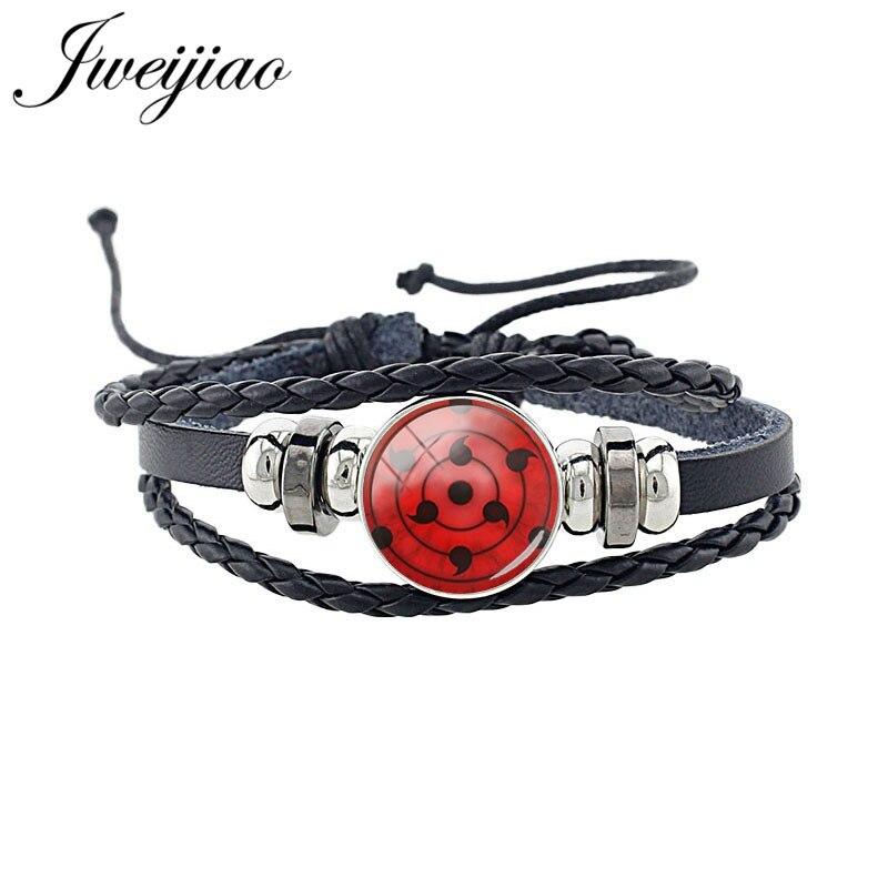 JWEIJIAO Japanese Anime Naruto Braided Leather Bracelet Uchiha Clan Rinnegan Sharingan Eye Bracelet Jewelry For Fans Gift AN89(China)