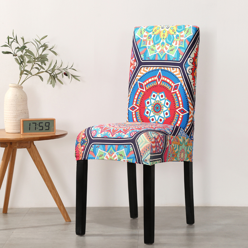 Boho Style Printed Stretch Slipcover Chair Cover For Dining Room Anti-dust For Office Chair Banquet Chair Elastic