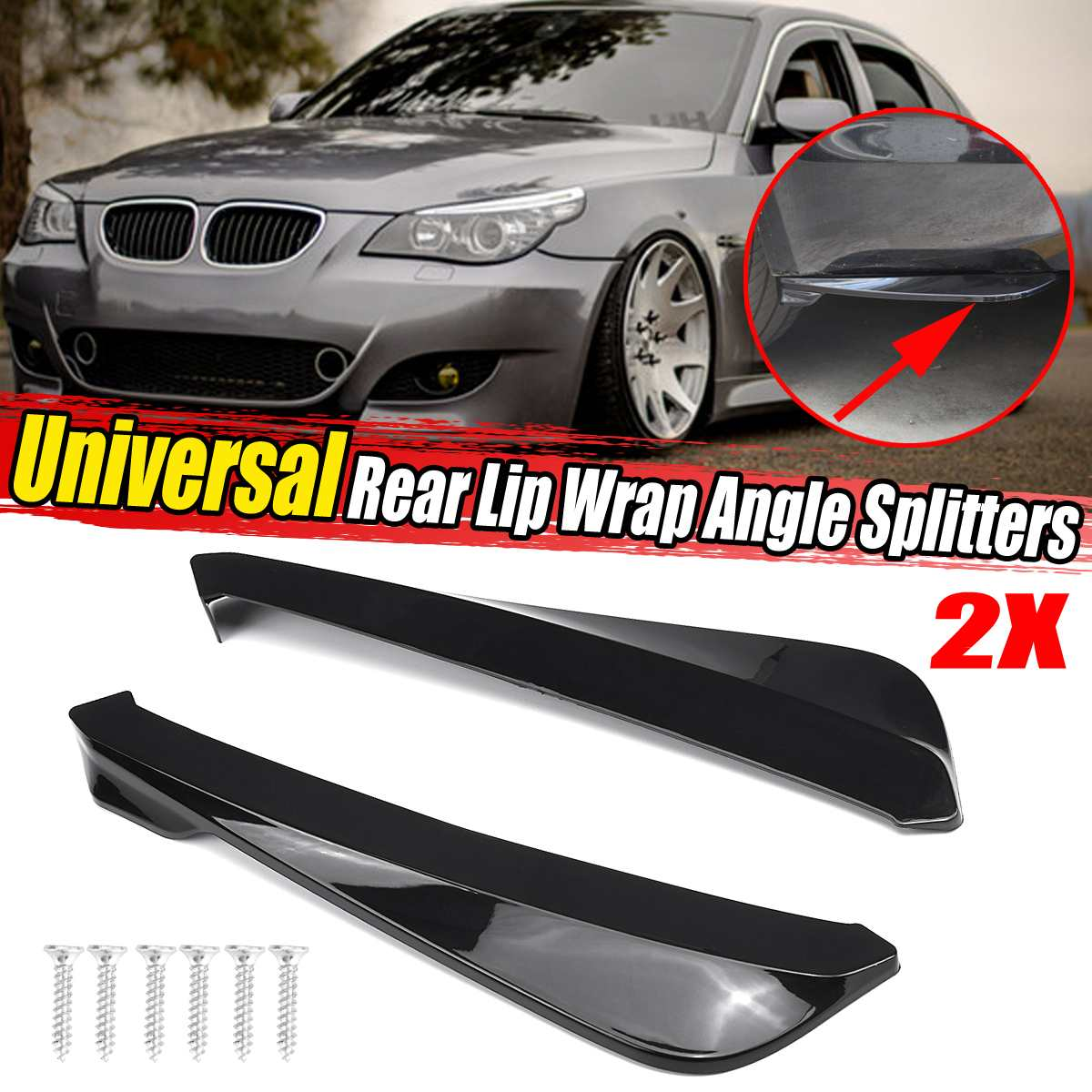 Universal Car Rear Bumper Lip Diffuser Splitter Spoiler Scratch Protector For BMW E90 E92 For LEXUS For Subaru For Infiniti Q50 image