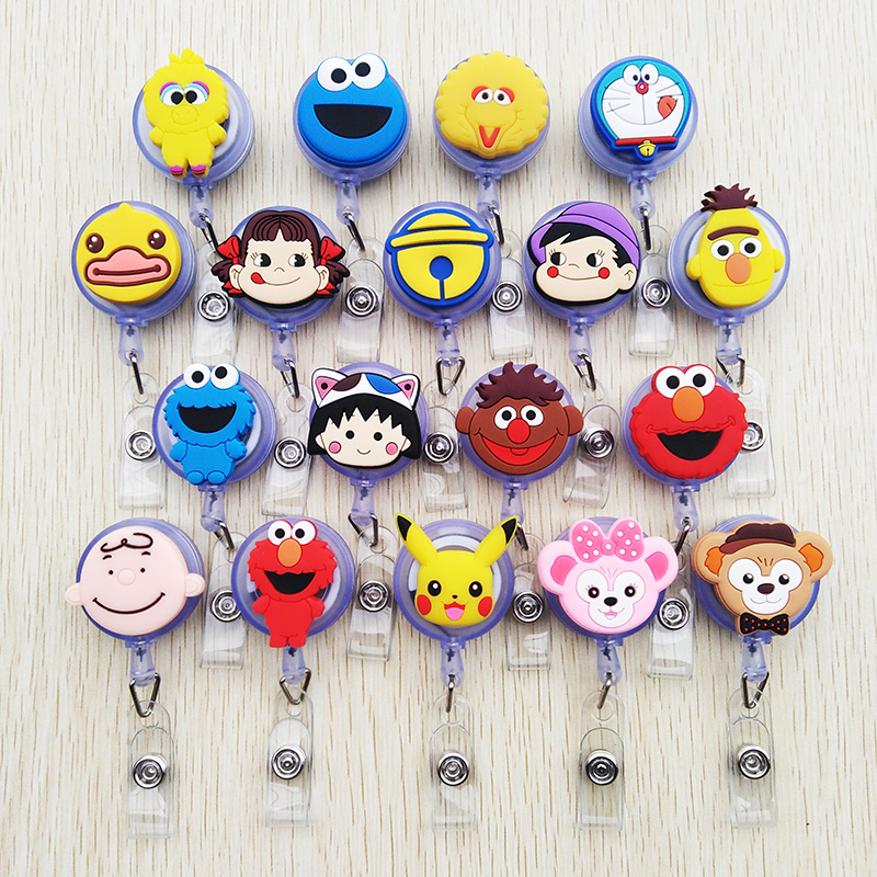 1pcs Cute Silica Gel Cartoon Telescopic Badge Reel Bus Card Student Nurse ID Name Card 2020 New Badge Holder Office Supplies