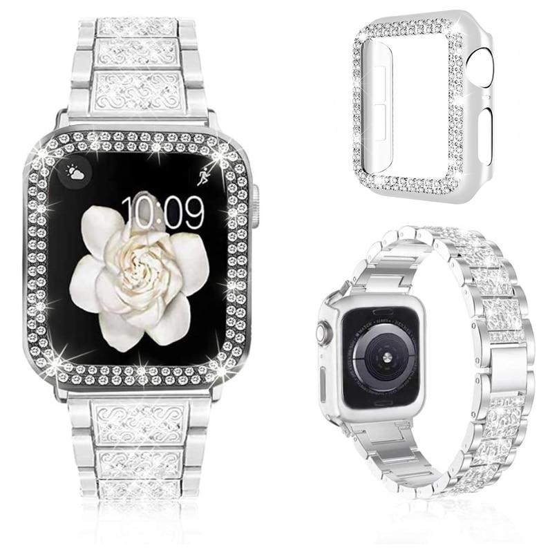 stylish bling apple watch double row rhinestone
