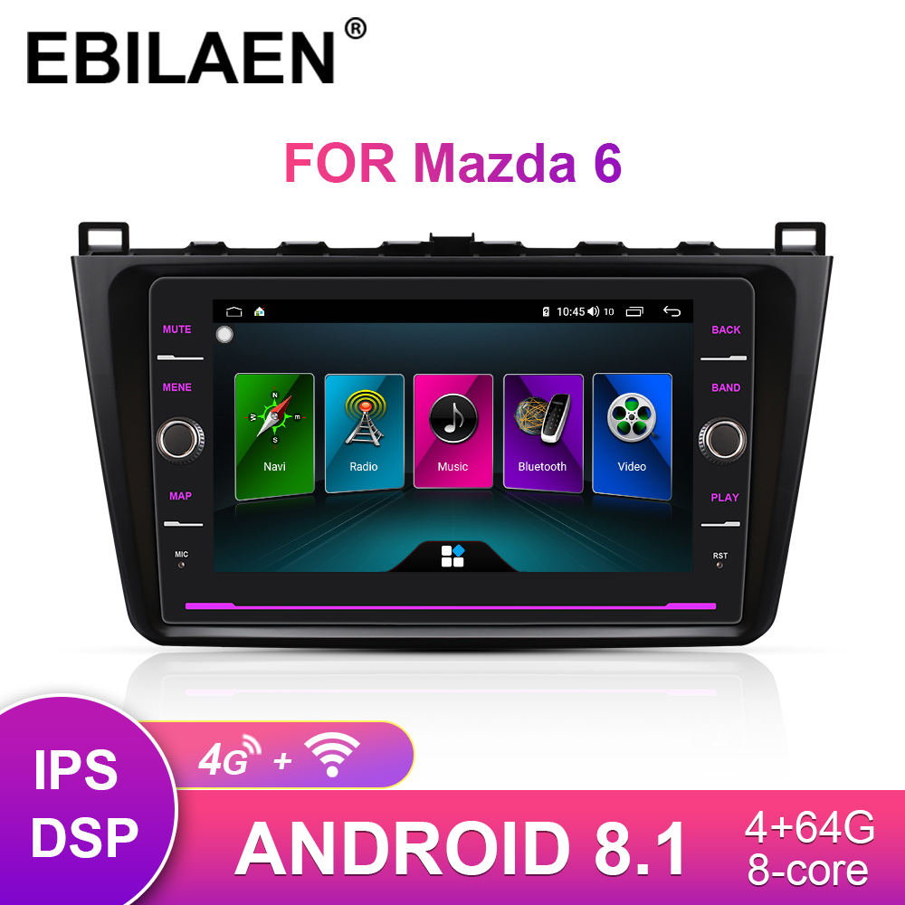 EBILAEN Car Radio <font><b>Multimedia</b></font> player For <font><b>Mazda</b></font> <font><b>6</b></font> GH II Ultra 2008-2015 <font><b>Android</b></font> 8.1 Autoradio GPS Navigation Tape recorder Mazda6 image