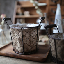 Retro Cloth Basket Flower Basket With Handle Wire Round Storage Basket For Home Garden Yard Photography Props Country Style